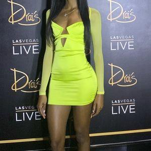 Neon Green Satin Mini Dress